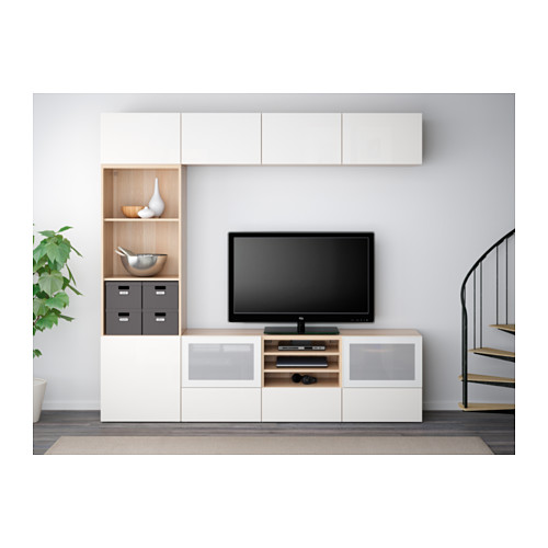BESTÅ - 電視貯物組合/玻璃門, 染白橡木紋/Selsviken 光面/白色/磨砂玻璃 | IKEA 香港及澳門 - PE537762_S4