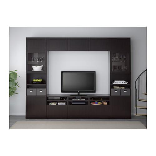 BESTÅ - 電視貯物組合/玻璃門, black-brown/Hanviken black-brown clear glass | IKEA 香港及澳門 - PE537670_S4