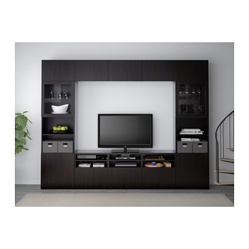 BESTÅ - TV storage combination/glass doors, Lappviken/Sindvik black-brown clear glass | IKEA Hong Kong and Macau - PE537677_S4