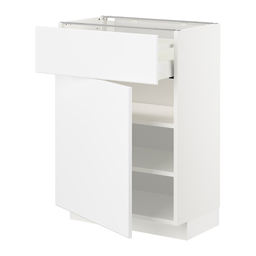 METOD/MAXIMERA - base cabinet with drawer/door, white/Kungsbacka matt white | IKEA Hong Kong and Macau - PE707474_S4