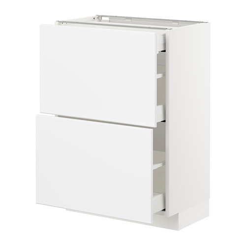 METOD/MAXIMERA - base cab with 2 fronts/3 drawers, white/Kungsbacka matt white | IKEA Hong Kong and Macau - PE707477_S4