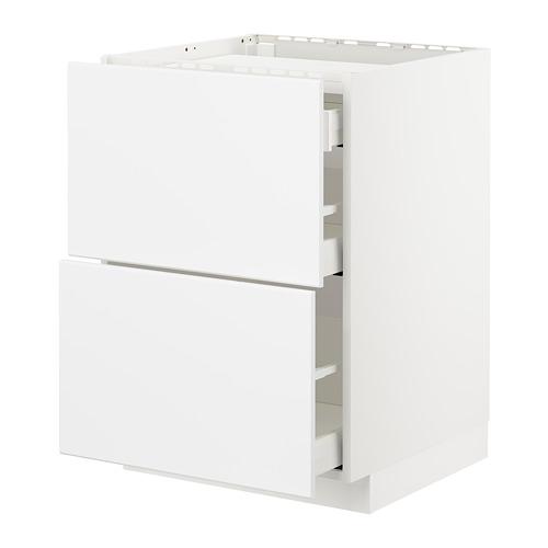 METOD/MAXIMERA - base cab f hob/2 fronts/3 drawers, white/Kungsbacka matt white | IKEA Hong Kong and Macau - PE707480_S4