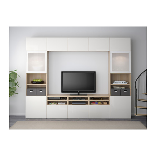 BESTÅ - TV storage combination/glass doors, white stained oak effect/Selsviken high-gloss/white frosted glass | IKEA Hong Kong and Macau - PE537703_S4