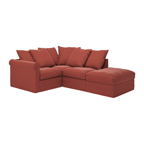 GRÖNLID - cover for corner sofa, 3-seat, with open end/Ljungen light red | IKEA Hong Kong and Macau - PE780061_S4