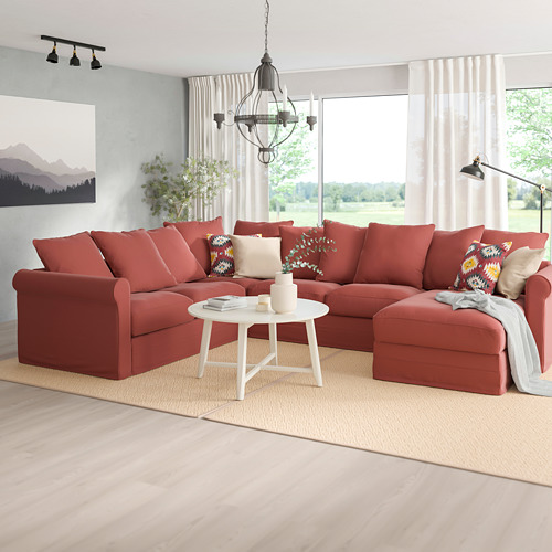 GRÖNLID - corner sofa, 5-seat, with chaise longue/Ljungen light red | IKEA Hong Kong and Macau - PE780109_S4