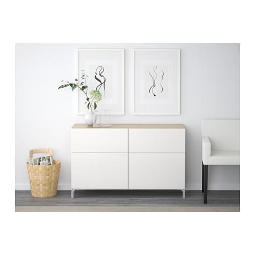 BESTÅ - 貯物組合連門/抽屜, 染白橡木紋/Selsviken 光面白色   IKEA 香港及澳門 - PE537512_S4