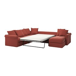 GRÖNLID - corner sofa-bed, 5-seat, with chaise longue/Ljungen light red   IKEA Hong Kong and Macau - PE780126_S3