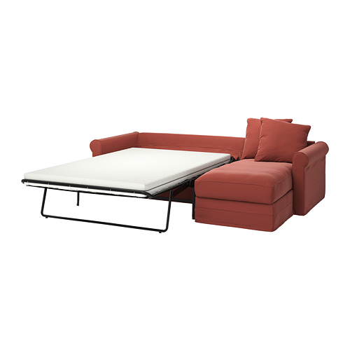 GRÖNLID - 3-seat sofa-bed, with chaise longue/Ljungen light red | IKEA Hong Kong and Macau - PE780155_S4
