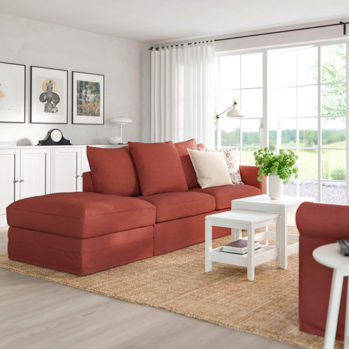 GRÖNLID - 3-seat sofa-bed, with open end/Ljungen light red | IKEA Hong Kong and Macau - PE780159_S4