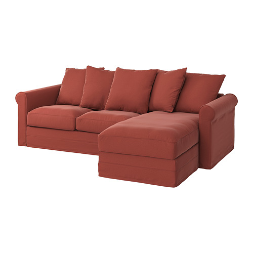 GRÖNLID - cover for 3-seat sofa, with chaise longue/Ljungen light red | IKEA Hong Kong and Macau - PE780170_S4
