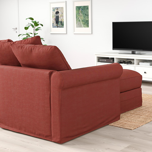 GRÖNLID - 3-seat sofa-bed, with chaise longue/Ljungen light red | IKEA Hong Kong and Macau - PE780172_S4