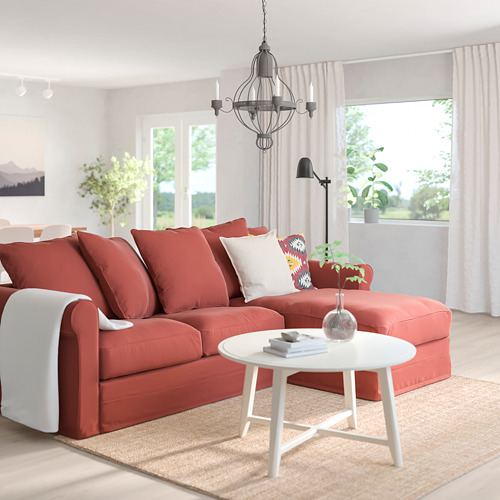 GRÖNLID - 3-seat sofa-bed, with chaise longue/Ljungen light red | IKEA Hong Kong and Macau - PE780171_S4