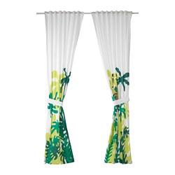 DJUNGELSKOG - curtains with tie-backs, 1 pair, monkey/green | IKEA Hong Kong and Macau - PE659041_S3