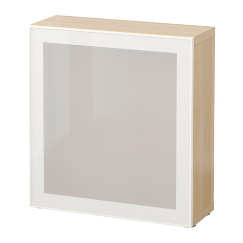 BESTÅ - shelf unit with glass door, white stained oak effect/Glassvik white/frosted glass | IKEA Hong Kong and Macau - PE537314_S4