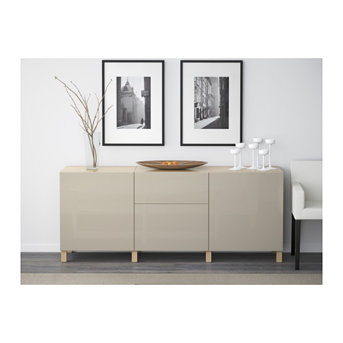 BESTÅ - 貯物組合連抽屜, white stained oak effect/Selsviken/Stubbarp high-gloss/beige | IKEA 香港及澳門 - PE537260_S4