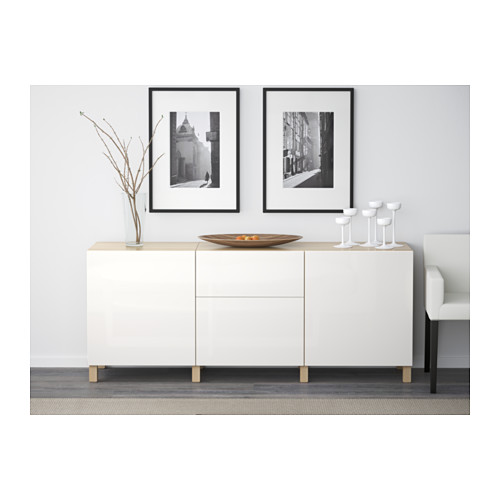 BESTÅ - storage combination with drawers, white stained oak effect/Selsviken high-gloss/white | IKEA Hong Kong and Macau - PE537261_S4