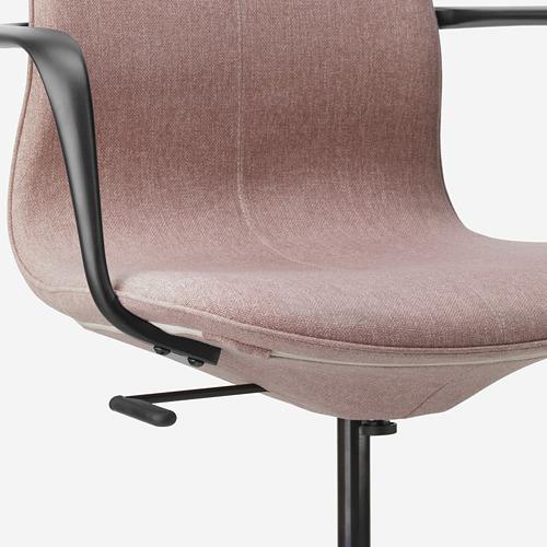 LÅNGFJÄLL - office chair with armrests, Gunnared light brown-pink/black   IKEA Hong Kong and Macau - PE685894_S4