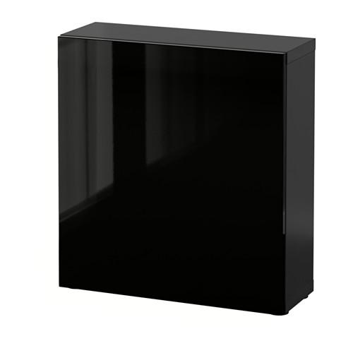 BESTÅ - 層架組合連門, 棕黑色/Selsviken 光面/黑色   IKEA 香港及澳門 - PE537218_S4