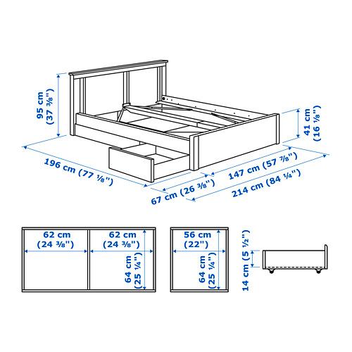SONGESAND 雙人床架連2個抽屜, luröy