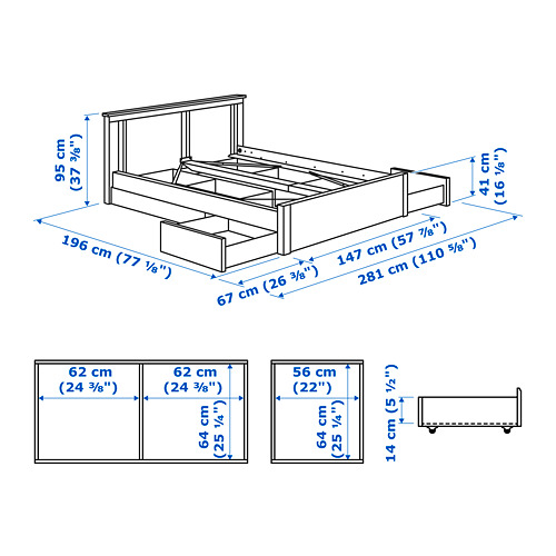 SONGESAND - bed frame with 4 storage boxes, white | IKEA Hong Kong and Macau - PE747540_S4