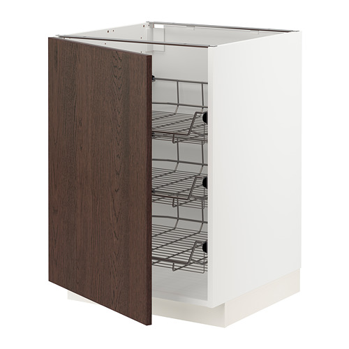 METOD - base cabinet with wire baskets, white/Sinarp brown | IKEA Hong Kong and Macau - PE802312_S4
