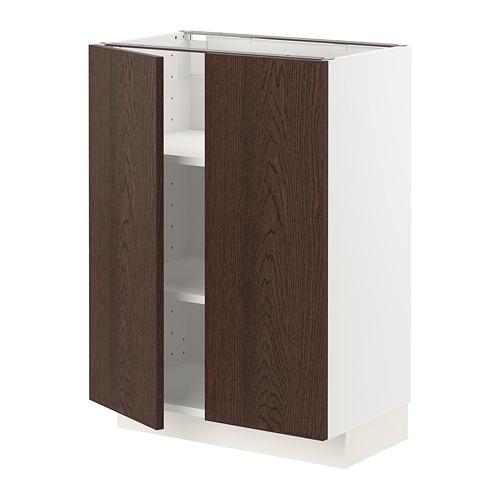 METOD - base cabinet with shelves/2 doors, white/Sinarp brown | IKEA Hong Kong and Macau - PE802299_S4
