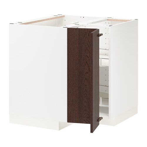 METOD - corner base cabinet with carousel, white/Sinarp brown   IKEA Hong Kong and Macau - PE802434_S4