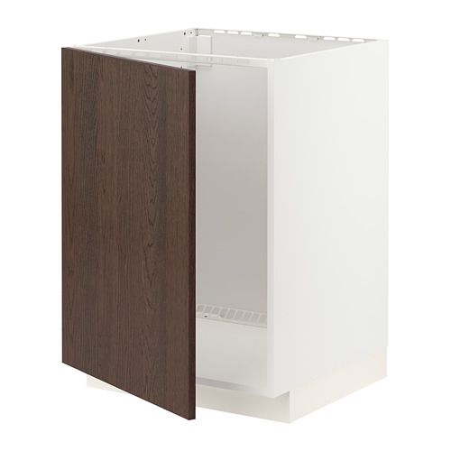 METOD - base cabinet for sink, white/Sinarp brown | IKEA Hong Kong and Macau - PE802438_S4