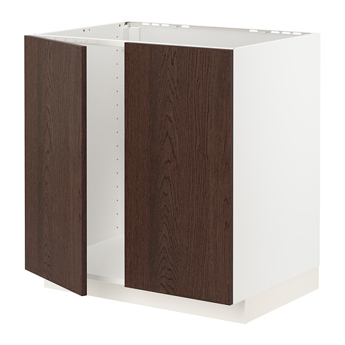 METOD - 星盆用地櫃連一對門, white/Sinarp brown | IKEA 香港及澳門 - PE802318_S4