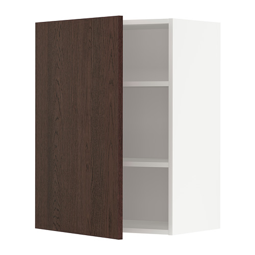 METOD - wall cabinet with shelves, white/Sinarp brown | IKEA Hong Kong and Macau - PE802454_S4