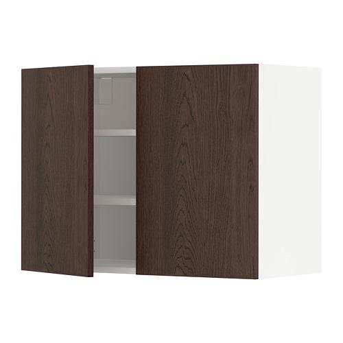 METOD - wall cabinet with shelves/2 doors, white/Sinarp brown | IKEA Hong Kong and Macau - PE802466_S4