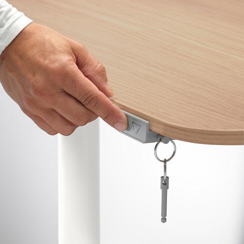 BEKANT - corner desk right sit/stand, 160x110cm, white stained oak veneer white | IKEA Hong Kong and Macau - PE714565_S4