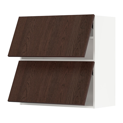 METOD - 雙門吊櫃連推按式開關, white/Sinarp brown | IKEA 香港及澳門 - PE802419_S4