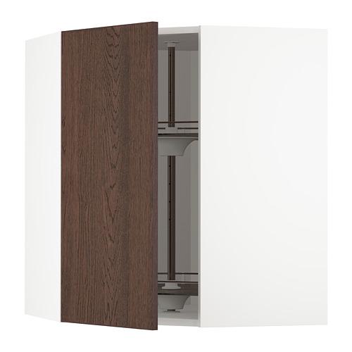 METOD - corner wall cabinet with carousel, white/Sinarp brown | IKEA Hong Kong and Macau - PE802342_S4