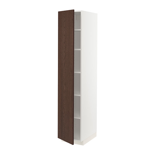 METOD - high cabinet with shelves, white/Sinarp brown | IKEA Hong Kong and Macau - PE802435_S4