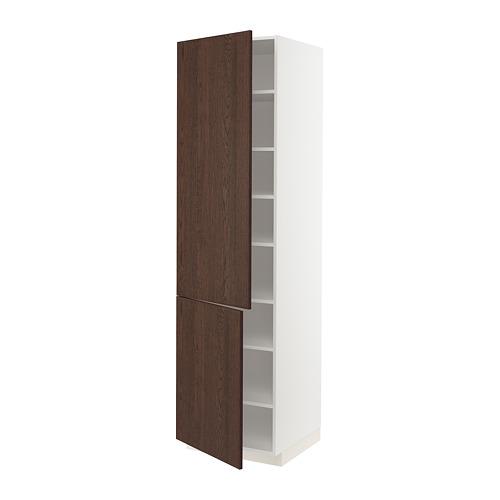 METOD - high cabinet with shelves/2 doors, white/Sinarp brown | IKEA Hong Kong and Macau - PE802482_S4