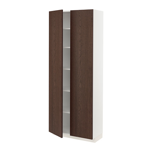 METOD - high cabinet with shelves, white/Sinarp brown | IKEA Hong Kong and Macau - PE802364_S4