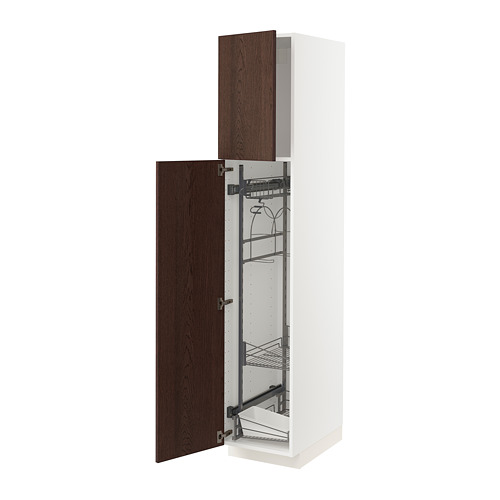 METOD - high cabinet with cleaning interior, white/Sinarp brown | IKEA Hong Kong and Macau - PE802486_S4