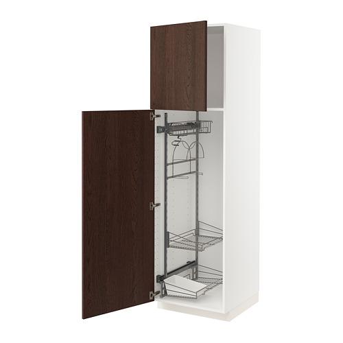 METOD - 高櫃連清潔用品櫃內配件, white/Sinarp brown | IKEA 香港及澳門 - PE802487_S4