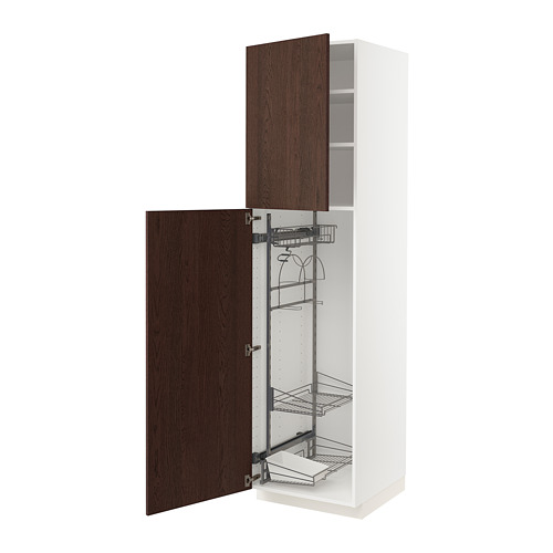METOD - high cabinet with cleaning interior, white/Sinarp brown | IKEA Hong Kong and Macau - PE802420_S4