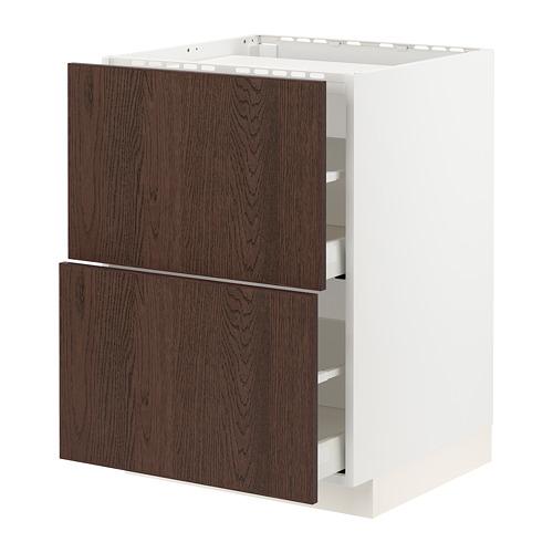 METOD/MAXIMERA - base cab f hob/2 fronts/2 drawers, white/Sinarp brown | IKEA Hong Kong and Macau - PE802316_S4