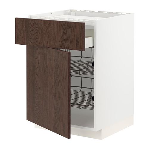 METOD/MAXIMERA - base cab f hob/drawer/2 wire bskts, white/Sinarp brown | IKEA Hong Kong and Macau - PE802433_S4