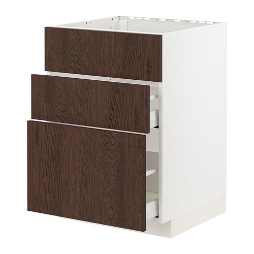 METOD/MAXIMERA - 星盆用地櫃連3面板/2抽屜, white/Sinarp brown | IKEA 香港及澳門 - PE802452_S4