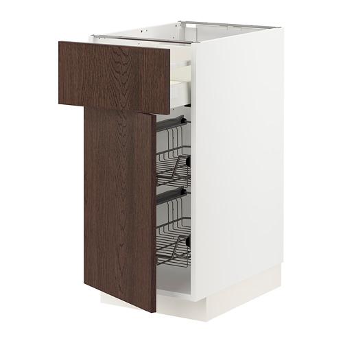 METOD/MAXIMERA - 地櫃連鋼條籃/抽屜/門, white/Sinarp brown | IKEA 香港及澳門 - PE802491_S4