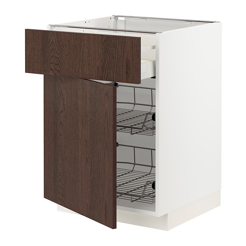METOD/MAXIMERA - base cab w wire basket/drawer/door, white/Sinarp brown | IKEA Hong Kong and Macau - PE802314_S4