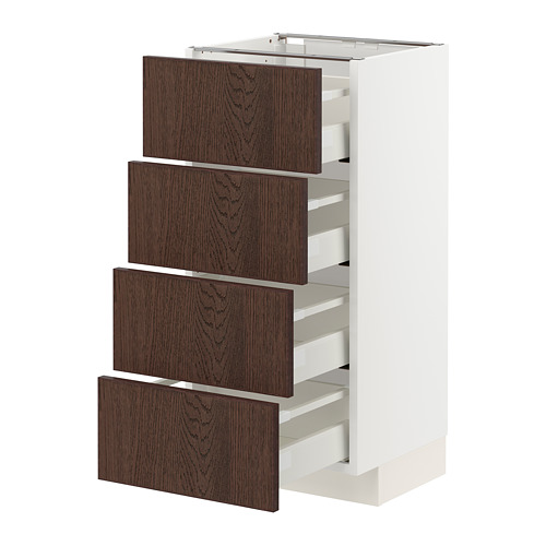 METOD/MAXIMERA - 地櫃連4面板/4抽屜, white/Sinarp brown   IKEA 香港及澳門 - PE802401_S4