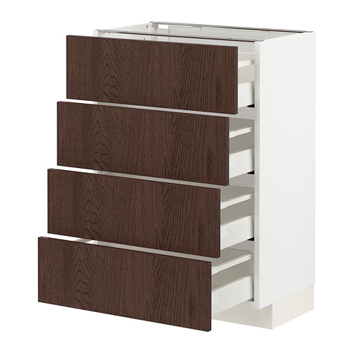 METOD/MAXIMERA - base cab 4 frnts/4 drawers, white/Sinarp brown | IKEA Hong Kong and Macau - PE802492_S4
