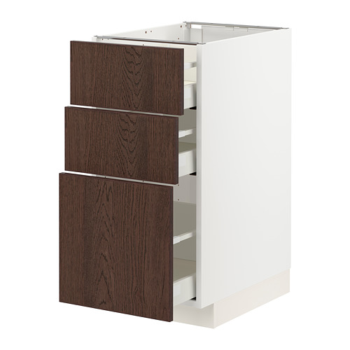 METOD/MAXIMERA - 地櫃連3抽屜, 白色/Sinarp 褐色 | IKEA 香港及澳門 - PE802315_S4