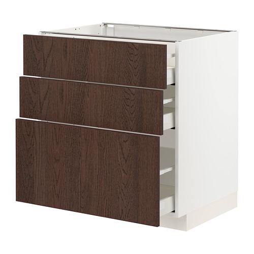 METOD/MAXIMERA - 地櫃連3抽屜, 白色/Sinarp 褐色 | IKEA 香港及澳門 - PE802402_S4