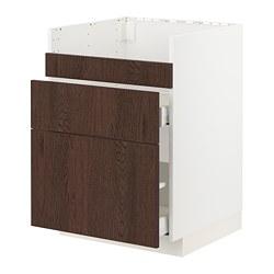METOD/MAXIMERA - HAVSEN星盆用地櫃連3面板/2抽屜, white/Sinarp brown | IKEA 香港及澳門 - PE802317_S3